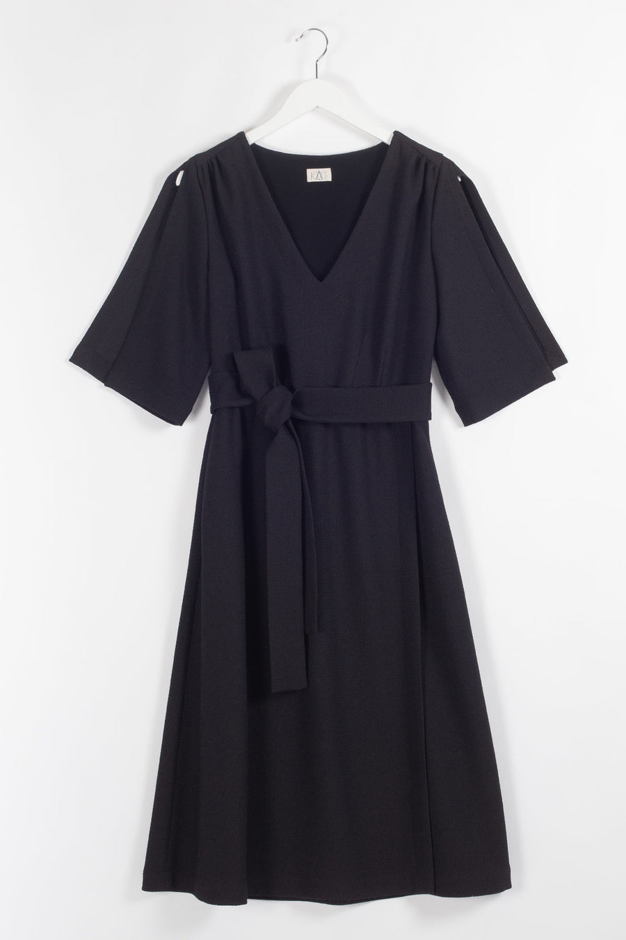 AGNES Belted Woolen A-line Midi Dress - Black