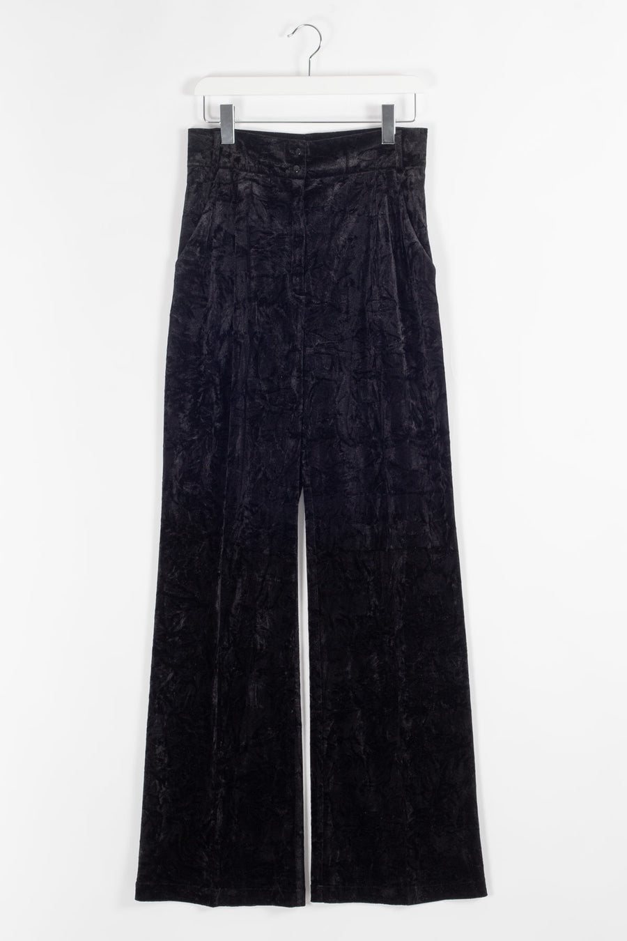 ELISE Highwaisted Wide Velvet Trousers - Black