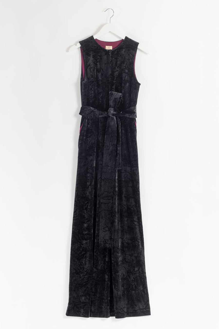 JUMP Belted Velvet Jumpsuit - Black