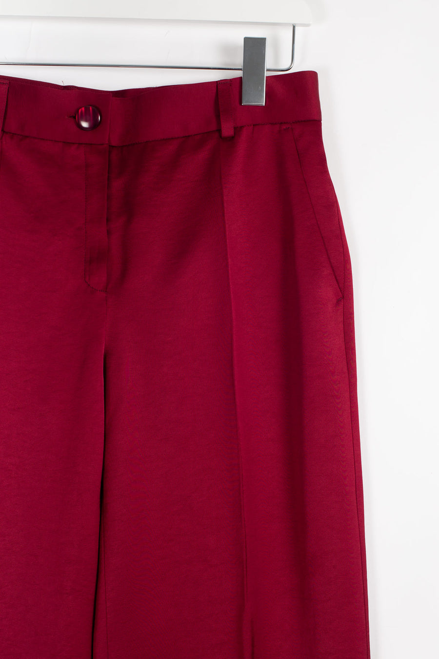 ESMER Viscose Wide-leg Trousers - Burgundy