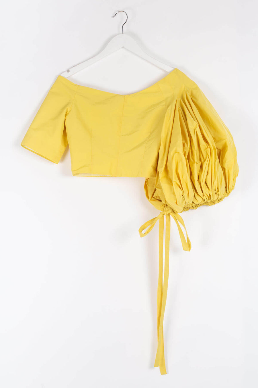Asymmetrical Puff Sleeve Crop Top - Yellow