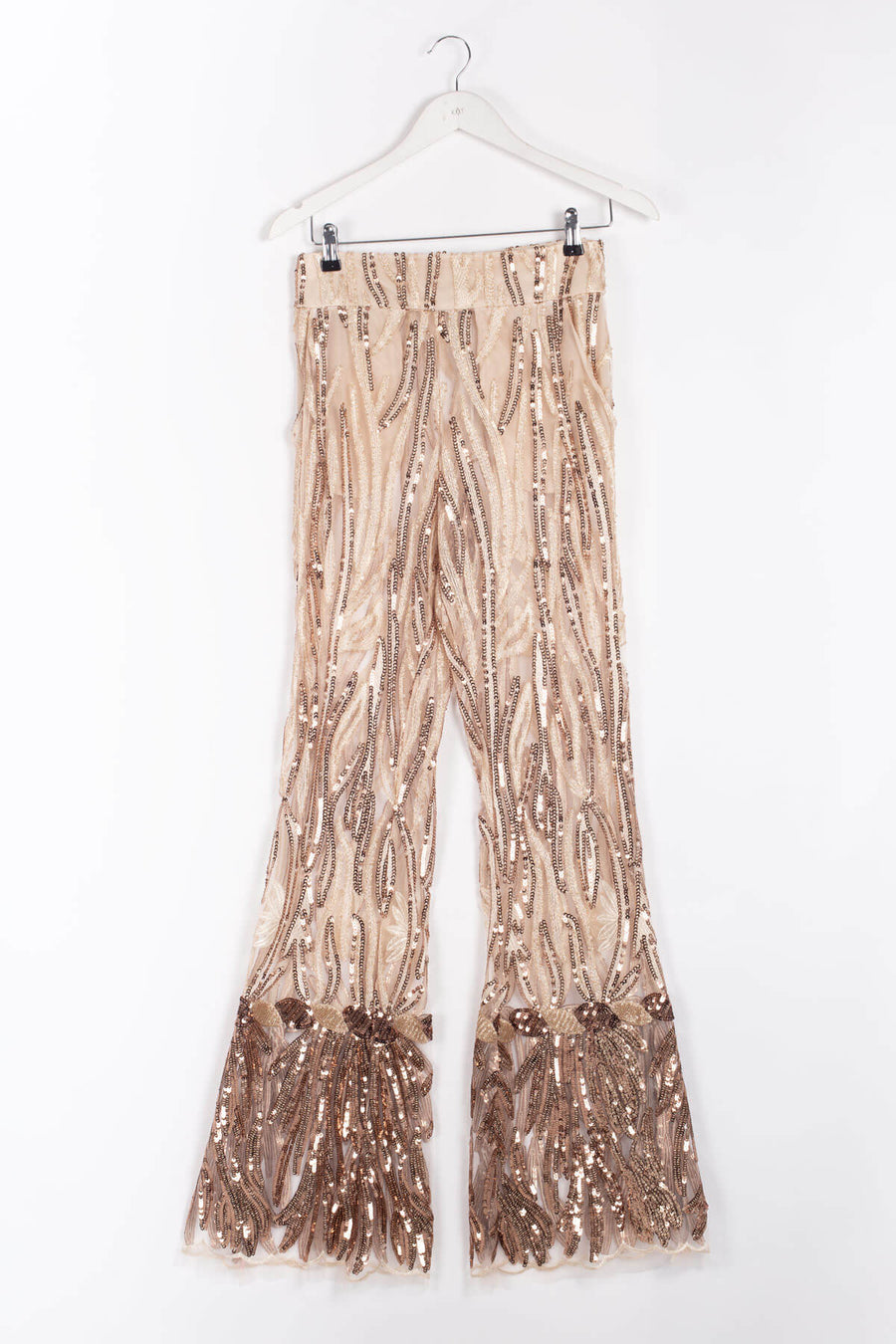 Flared See-through Highwaisted Sequin Pants - Copper