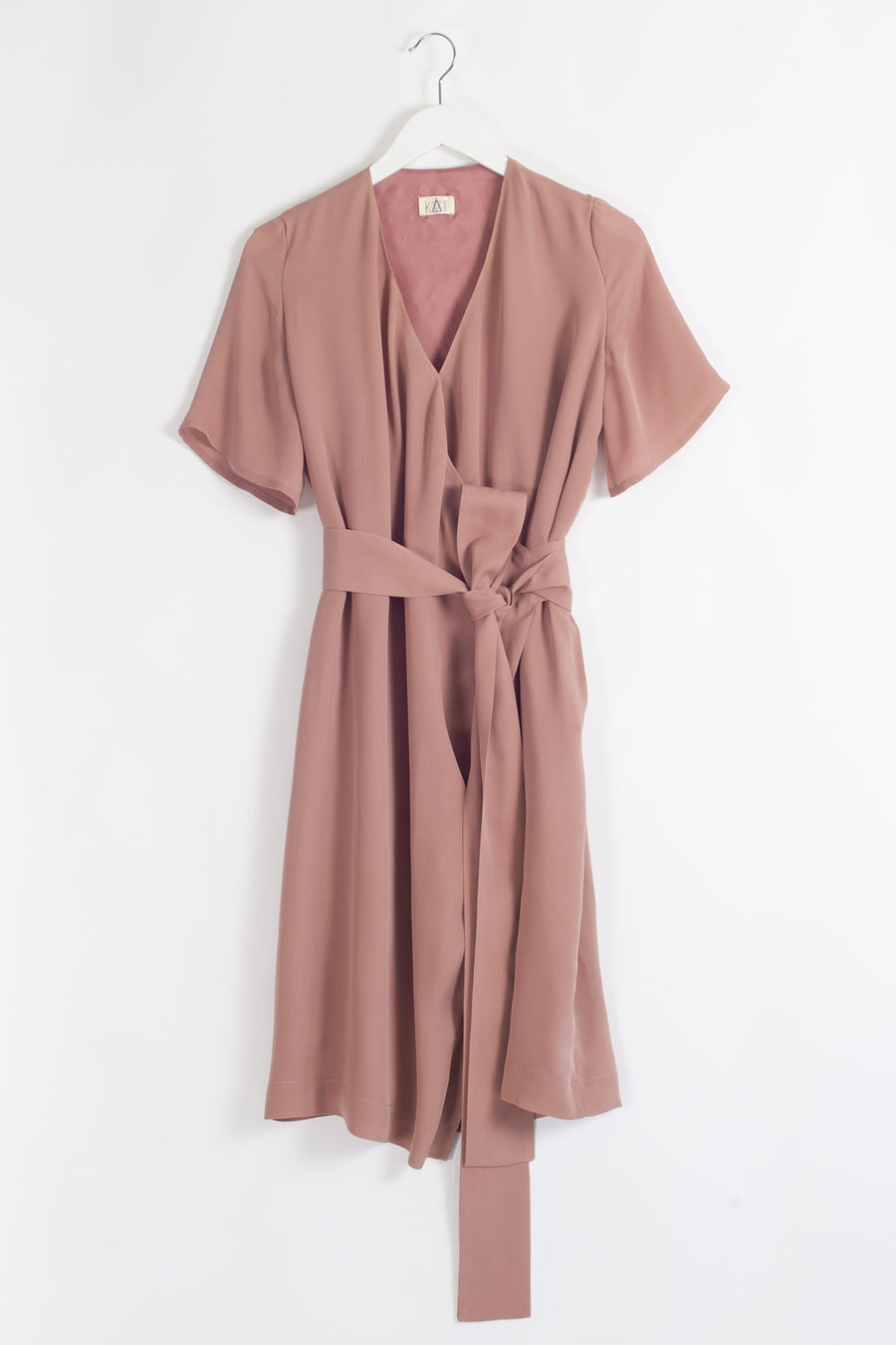 ASE Knee Length Silk Wrap Dress - Salmon Pink
