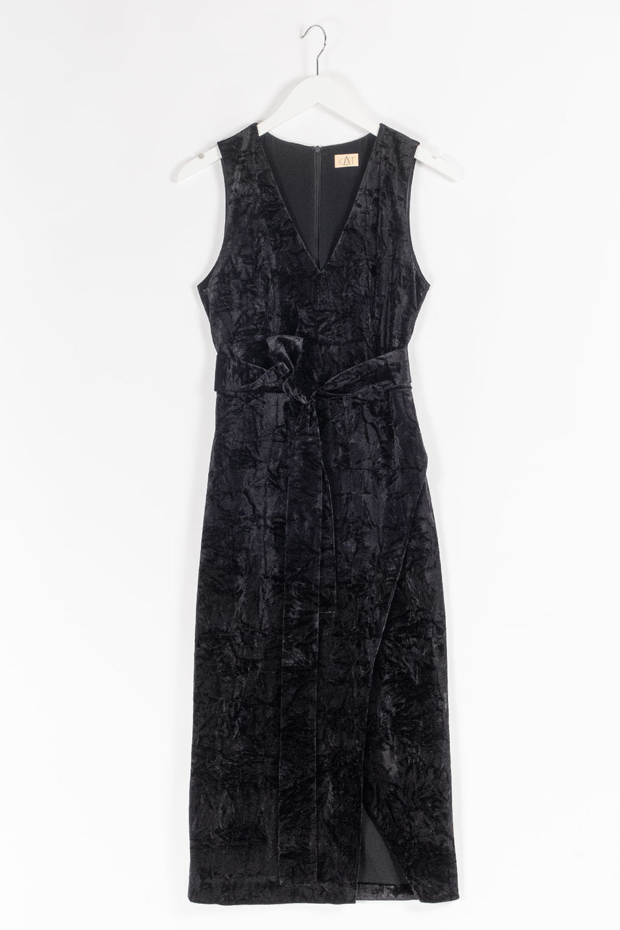 LEA Belted Velvet Side Slit Cocktail Dress - Black