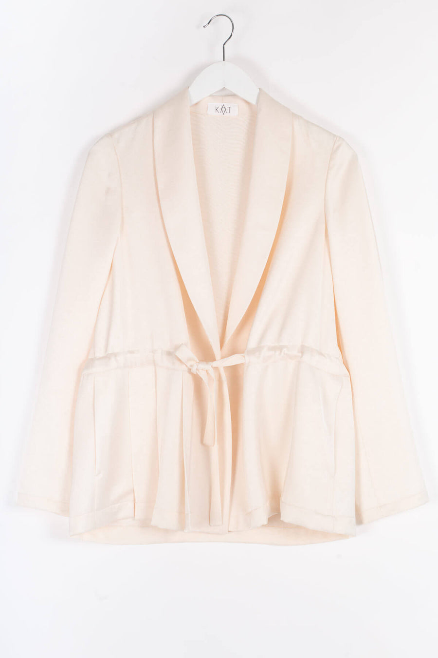 CURDIE Viscose Pleated Jacket - Ivory