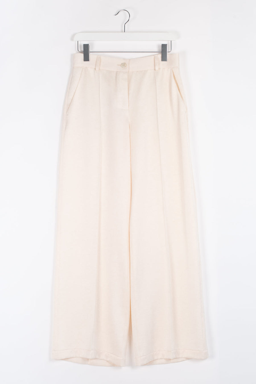 ESMER Viscose Wide-leg Trousers - Ivory