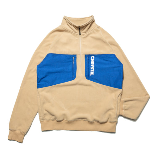 Mock Neck Half-zip Polar Fleece Sweater / Cream