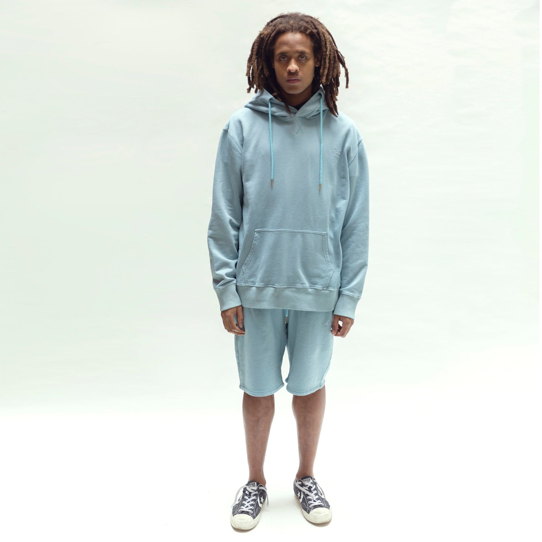 Load image into Gallery viewer, Garment dye Classic logo French Terry sweatshorts_Washed Blue