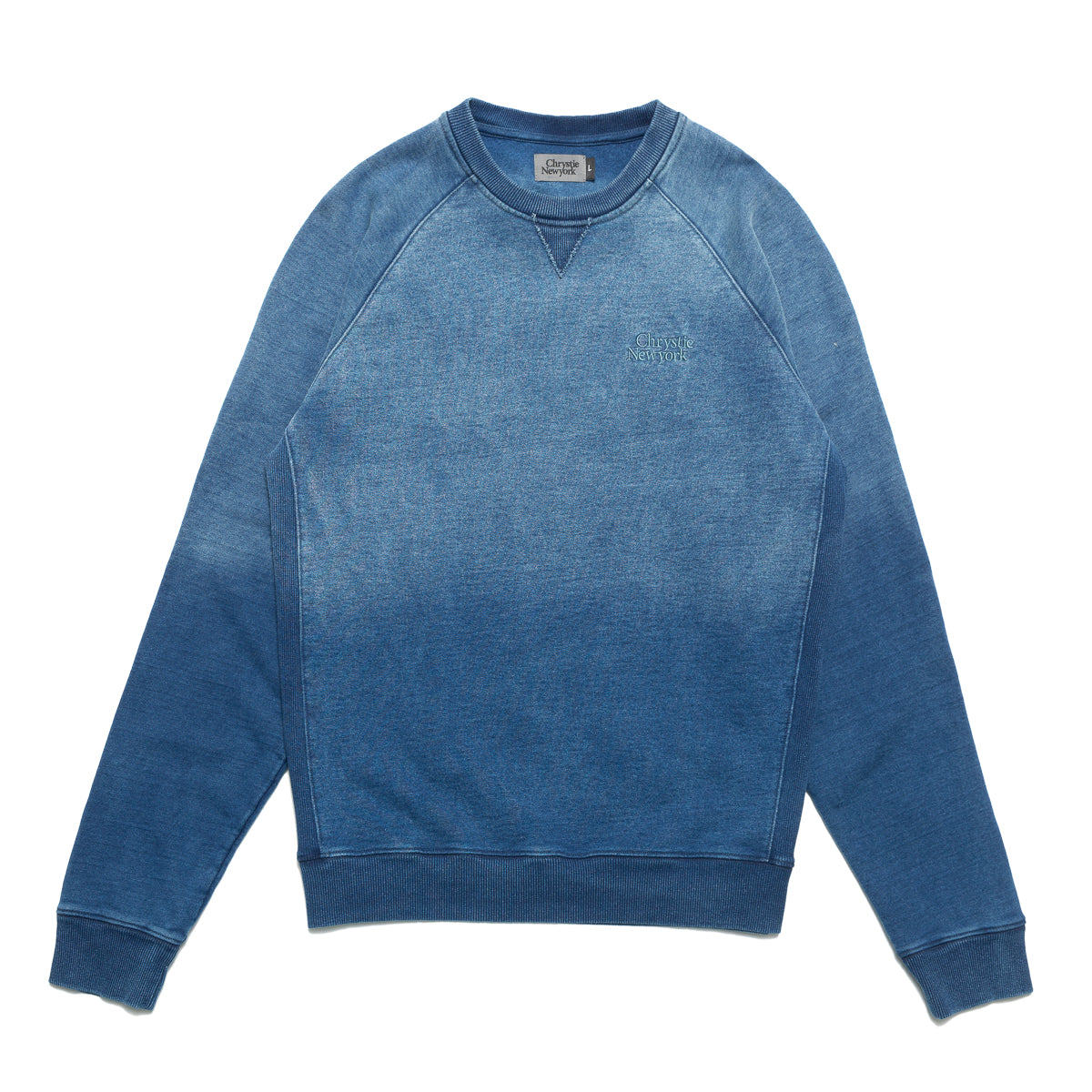 Load image into Gallery viewer, Indigo dye Classic logo crewneck sweater