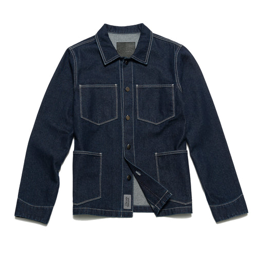 Raw denim shirt jacket
