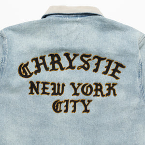 Chain stitch embroidery logo denim jacket