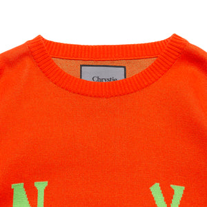 Smile Logo Knit Sweater_Orange