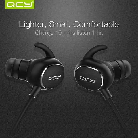 QCY IPX4-rated Wireless Sweat-proof Earphones for Bodybuilding and Fitness (Bluetooth V4.1 with MIC) ,earphone - Gym Beast Mode