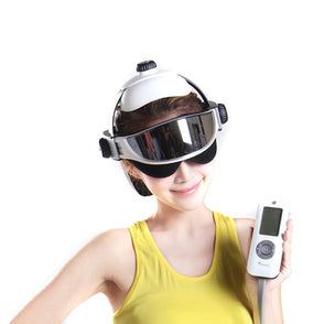 Electric Head Massage Helmet Head and Eye Massager with Air Pressure, Vibration, Hot Compress, Music Multi-function for Relieve Brain and Eye Fatigue,Pains
