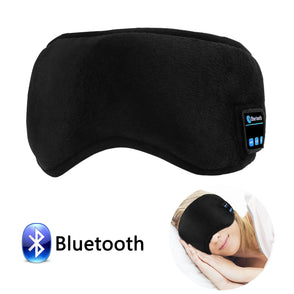 Bluetooth Sleeping Eye Mask Headphones, Sleeping Stereo Eye Shades Headphone Handsfree Music Headset Earpiece Washable for Travel Siesta - Black