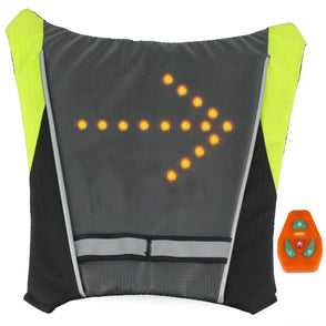 LED Turn Signal Light Reflective Vest  - Widget of Backpack for Night Cycling Motorcycle Safety