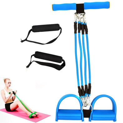 Chest Expander & Leg Pull Up Exerciser / Feet Pedal Bodybuilding Expander with Adjustable 4 Resistance Bands