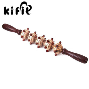 KIFIT Wood Roller Stick Body Trigger Point Massage Stick Leg Massager Gym Muscle Relief Tool for Full Body Arm Leg Back