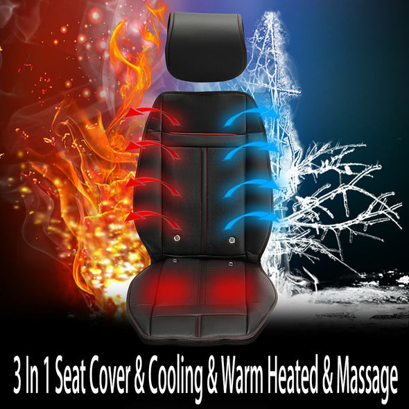 3 In 1 Auto Car Heated Seat Covers Pad Electric Cushion Ventilation w/ Cooling Warm Heated & Massage