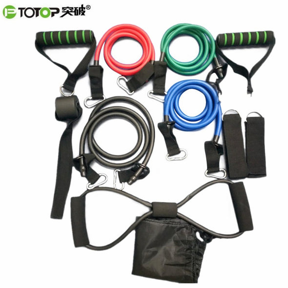 PTOTOP 11 Pcs/Set Portable Multifunctional Rally Pull Rope Muscle Training Resistance Bands Chest Expander Puller Exercise Tubes