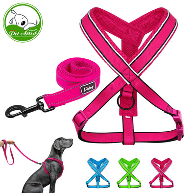 Reflective Pet Dog Nylon Harness Vest With Walking Leash Mesh Padded Adjustable Dogs Harnesses With Strap For Medium Large Pets