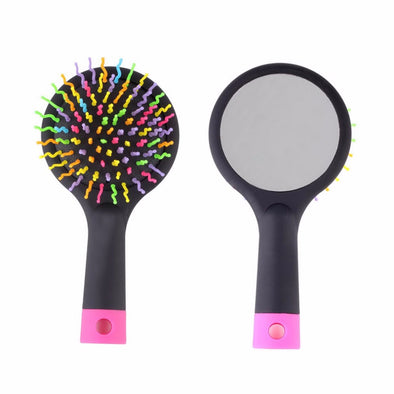 2017 Rainbow Volume Anti-static Magic Detangler Hair Curl Straight Massage Comb Brush Styling Tools With Mirror