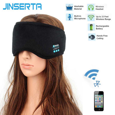 JINSERTA Wireless Bluetooth Earphone Sleep Mask Phone Headband Sleep Soft Headphone Headset For Listenting Music Answering Phone