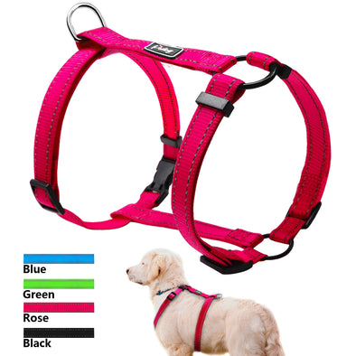 Reflective Nylon Dog Harness Adjustable Pet Walking Harnesses Vest For Small Medium Large Dogs 4 Colors S M L