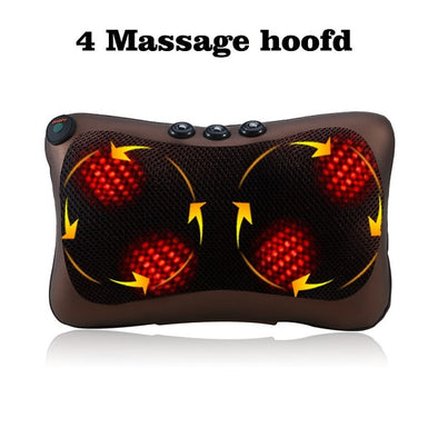 8/4 Head Neck Massager Car Home Shiatsu Massage Neck Relaxation Back Waist Body Electric Massage Deep-Kneading Pillow Cushion EU