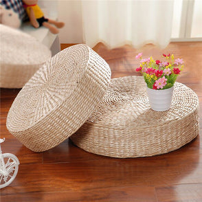 40cm Handmade Round Straw Weave Pillow Floor Yoga Chair Seat Mat Tatami Cushion Yoga Mat Blankets For Relax