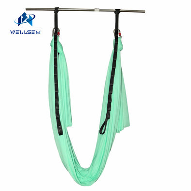 Wellsem Upgraded Aerial Yoga Hammock Swing  for Anti-gravity Yoga Pilate Inversion Include Daisy Chain ,Carabiner and Pose Guide
