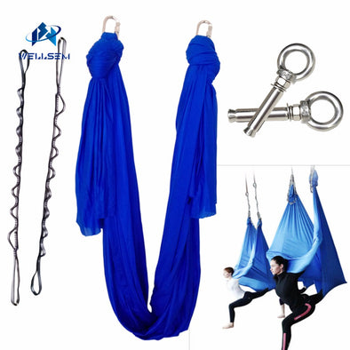 5meter 1set Deluxe Aerial Flying Anti-gravity Yoga Hammock Swing  Yoga +1 pair carabiner +1 pair daisy chain+1pair ring mount