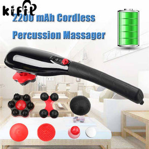 Brand New 5-Speed Cordless Percussion Massager Handheld Full Body Massage Stick Roller Vibration Gold Neck Back Feet