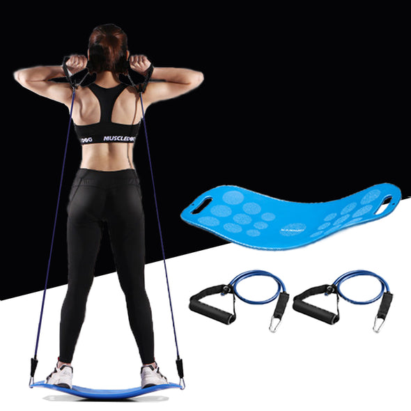 Men Women Resistance Bands Strength Trainer Belt with Board Puller Crossfit Muscle Training Rope Fitness Tube Yoga Twist Expand