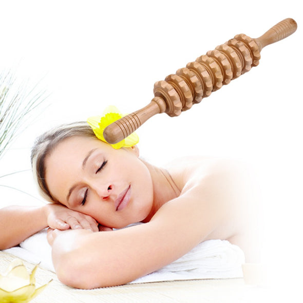 Wooden Abdominal Massage Roller Handheld Manual Wheel Massage Stick Release Pain Multifunctional Health Care Tool