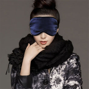 1PC New Pure Silk Sleep Eye Mask Padded Shade Cover Travel Relax Aid Blindfold Shades Helper 6 Colors