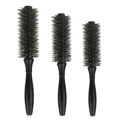 3 Size Anti-static Roll Round Hair brush Bristles Wood Handle  Combs Curling Hair Scalp Massage Comb Hair Brush Styling Tools