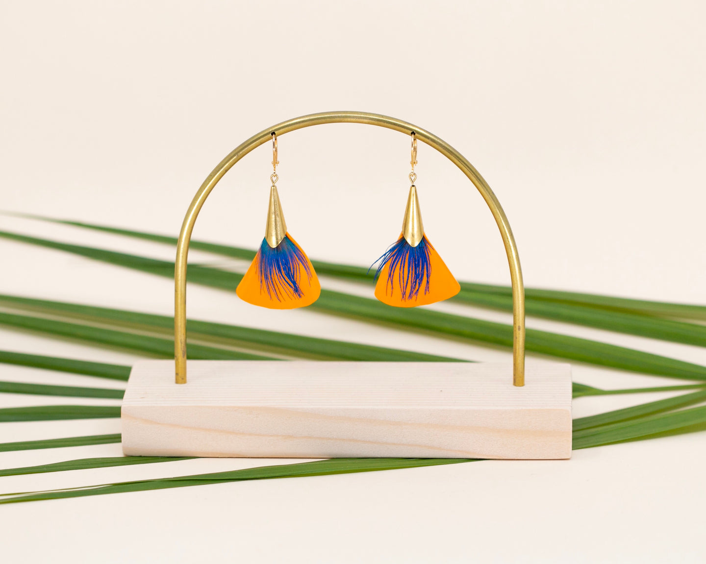 Boucles Lorenz  Orange/ Bleu paon