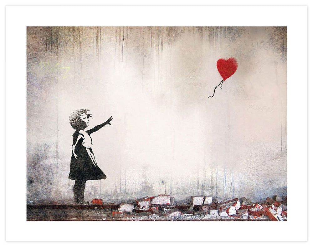 Girl with red balloons bricks