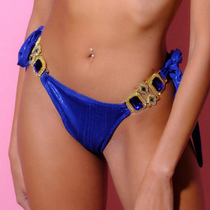Bottom, Resell-Afrodite Blue Slip-Siberica Swim-Only Bottom Match with Top & Headband to complete the look Brazilian bottom High quality double fabric with lining Premium metallic fabric Rhinestone jeweled details Glass stone jewelry Model wears size Medium Bikini for woman Brand: Siberica Swim Care Instructions-XS-