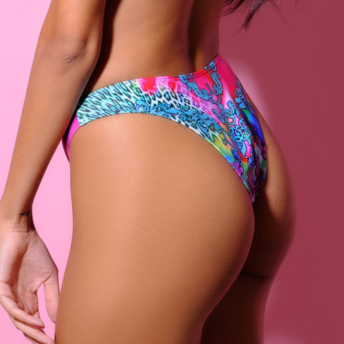 Bottom-Baroque Brazilian Slip-Siberica Swim-Only Bottom Match with Top & Headband to complete the look Brazilian bottom Multicolor print High quality double fabric with lining Model wears size Medium Composition: 85% polyester, 15% spandex Bikini for woman Brand: Siberica Swim Care Instructions-XS-