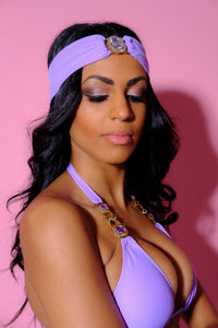 Bandana, Resell-Cleopatra Lilac Bandana-Siberica Swim-Only Headband Featuring double lined stretchy fabric and a crystal embellishment Handmade rhinestone jeweled details Glass stone jewelry One size fits all Bandana for woman Composition: 80% nylon, 20% spandex Brand: Siberica Swim Care Instructions-