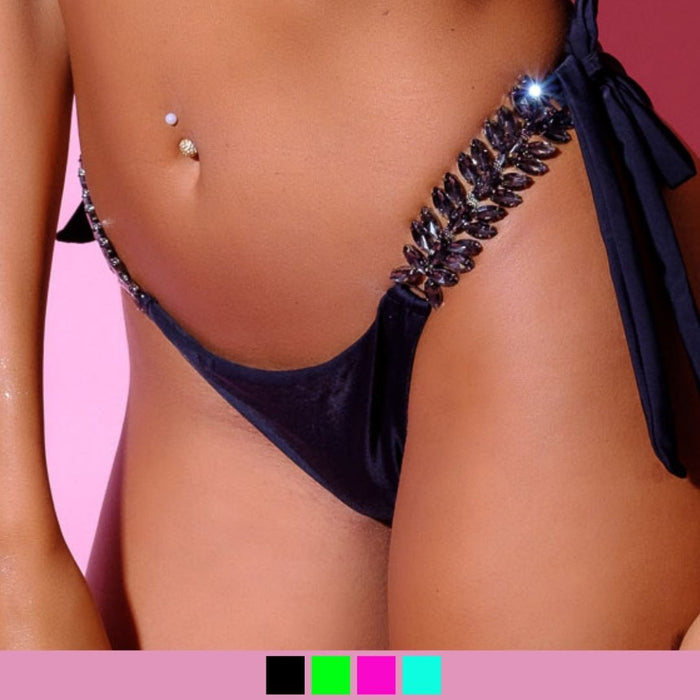 Bottom-Sveva Slip-Siberica Swim-Only Bottom Match with Top to complete the look Brazilian bottom High quality double fabric with lining Rhinestone jeweled details Glass stone jewelry Model wears size Small Bikini for woman Brand: Siberica Swim Care Instructions-S Mint-