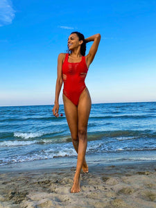 Bikini, Red, Swimsuit-Alba Red-PHYSICAL-Siberica Swim-Swimsuit one piece Top without pad Model wears size Medium (we suggest to choose +1 size that your usual) Color Red Brazilian bottom Laser cutting effect Swimsuit for woman Brand: Siberica Swim Care Instructions-S-
