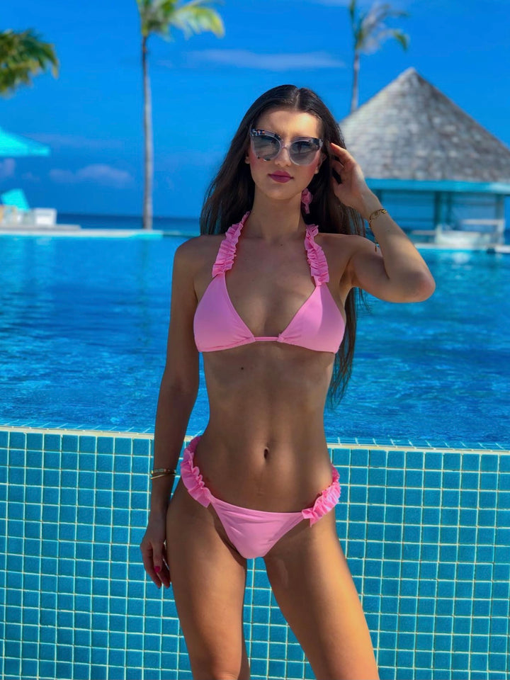 mw_grouped_product, Outlet-Maldive Pink-Siberica Swim-Bikini Set Top & Bottom Top padded removable Neck & back ties Brazilian bottom Model wears size M Bikini for woman Brand: Siberica Swim Care Instructions-