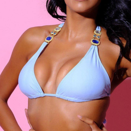 TopOutlet-Cleopatra Top-Siberica Swim-Only Top Match with Bottom to complete the look Sliding triangle top Top padded removable Neck & back ties High quality double fabric with lining Handmade Rhinestone jeweled details Glass stone jewelry Model wears size Small Bikini for woman Brand: Siberica Swim Care Instructions-S Light Blue-