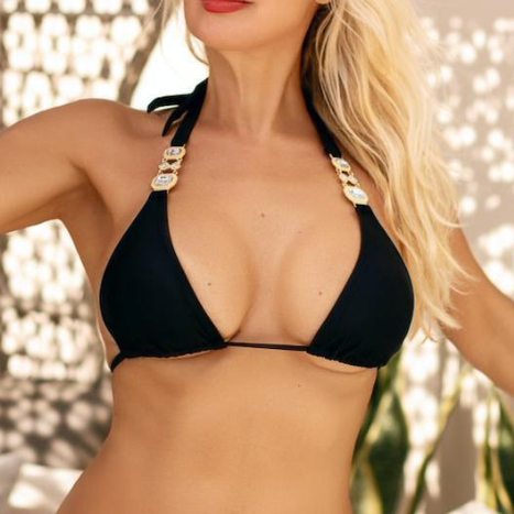 TopOutlet-Cleopatra Top-Siberica Swim-Only Top Match with Bottom to complete the look Sliding triangle top Top padded removable Neck & back ties High quality double fabric with lining Handmade Rhinestone jeweled details Glass stone jewelry Model wears size Small Bikini for woman Brand: Siberica Swim Care Instructions-S Black-