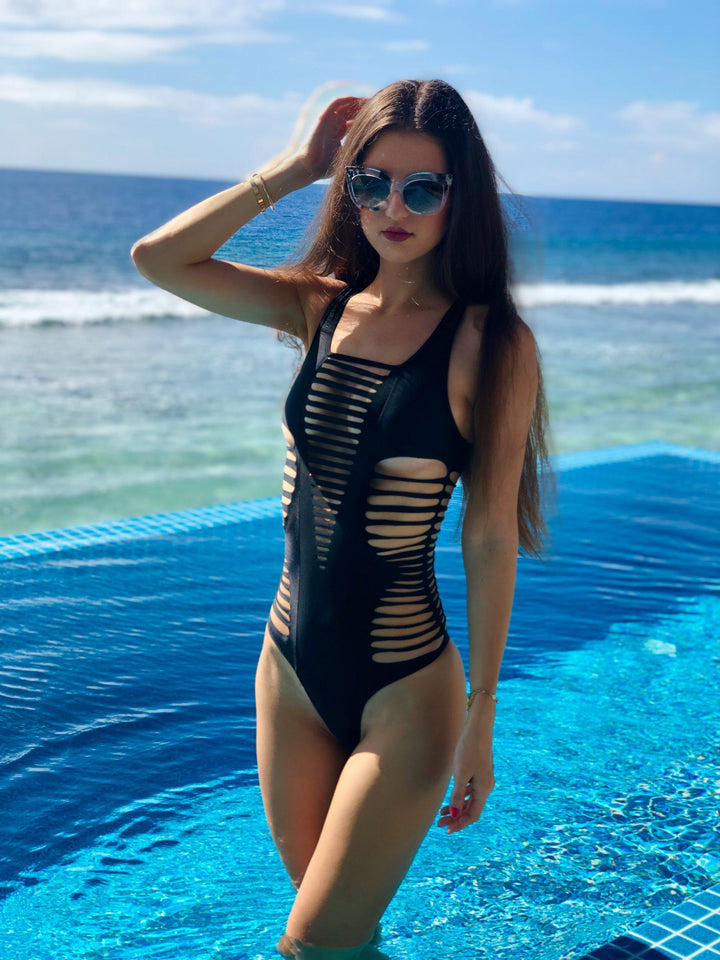 Bikini, Black, Swimsuit-Alba Black-PHYSICAL-Siberica Swim-Swimsuit one piece Top without pad Model wears size Medium (we suggest to choose +1 size that your usual) Color Black Brazilian bottom Laser cutting effect Swimsuit for woman Brand: Siberica Swim Care Instructions-S-