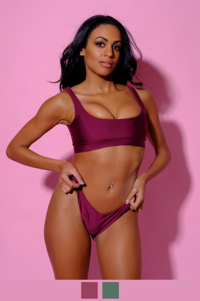 Bikini, Bordeaux, Green, mw_grouped_product-Ariel Bikini-PHYSICAL-Siberica Swim-Bikini Set Top & Bottom Top padded Brazilian bottom High quality double fabric with lining Model wears size Small Bikini for woman Color: bordeaux or dark green Brand: Siberica Swim Care Instructions-