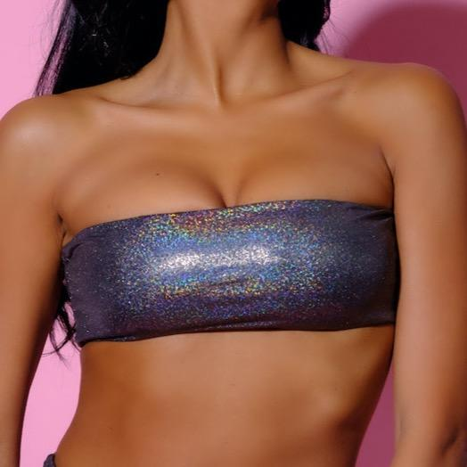 Top-Holographic Top-Siberica Swim-Only Top Holographic multicolor effect Match with Bottom to complete the look Bandeau top Top padded High quality double fabric with lining Model wears size Small Bikini for woman Brand: Siberica Swim Care Instructions-S-